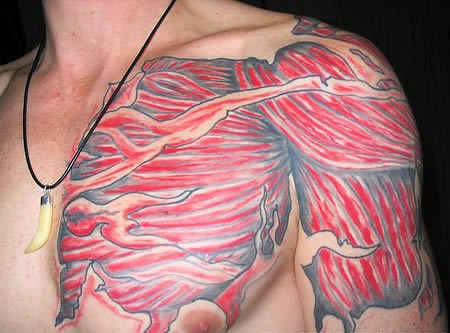 Muscles Tattoo On Chest And Shoulder