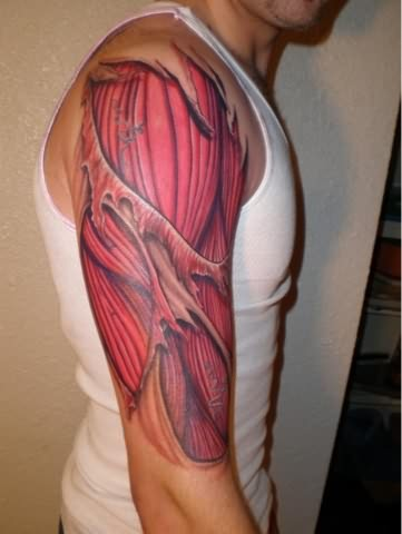 Muscles Tattoo On Right Half Sleeve