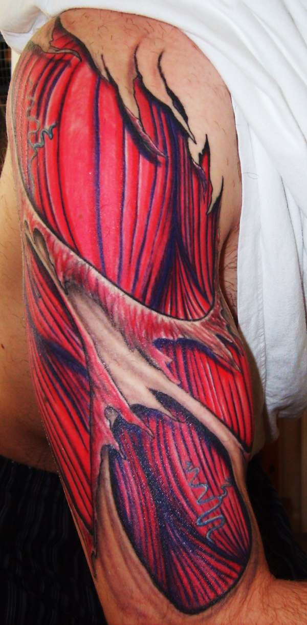 Muscles Tattoos On Man Half Sleeve