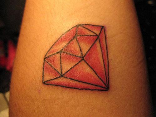 Nice Red Diamond Tattoo Picture