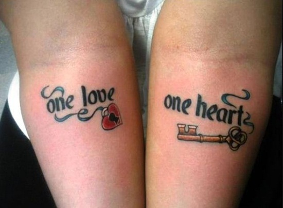 One Heart One Love Tattoos On Arms