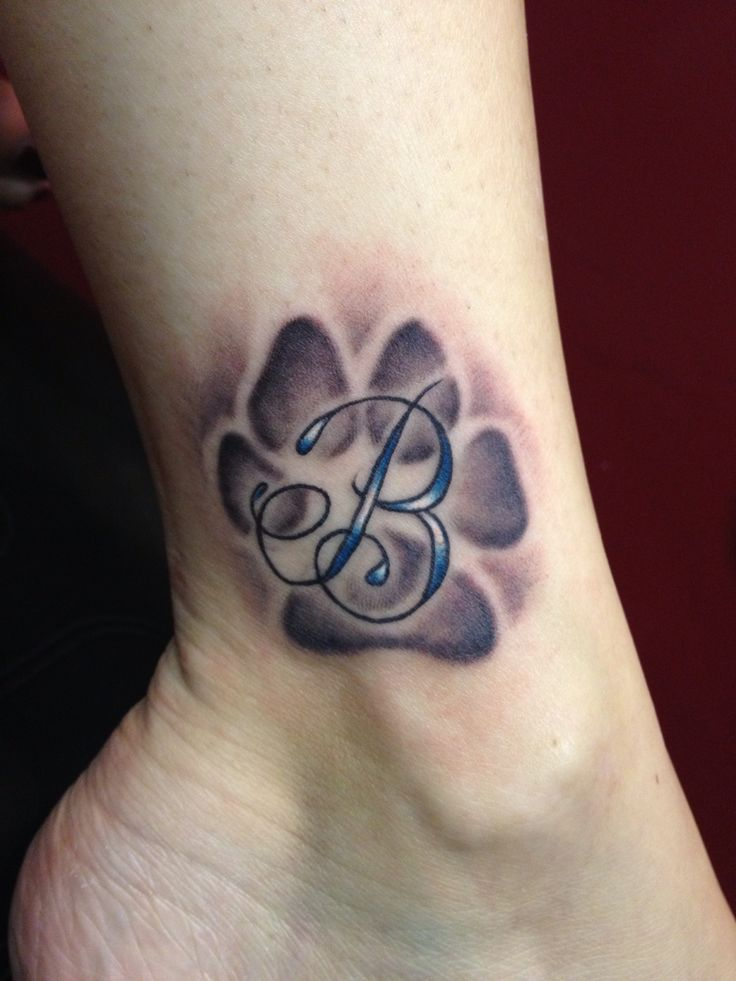 Paw print tattoo and b letter on ankle thecheapjerseys Image collections