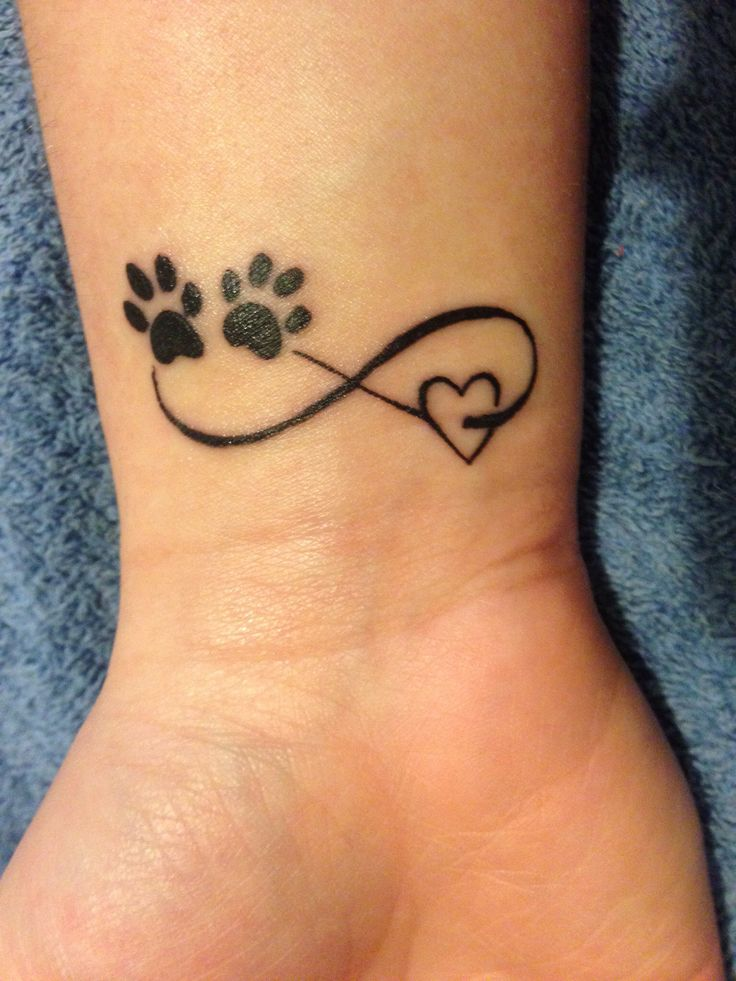 Paw Tattoos With Infinity Love Heart On Wrist