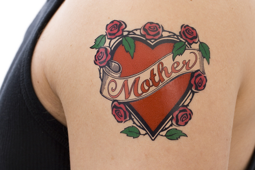 Red Heart Rose Flowers With Banner Of Mother Tattoo