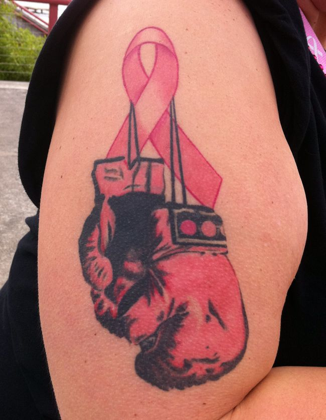 Rip Fighter Breast Cancer Tattoo On Half Sleeve
