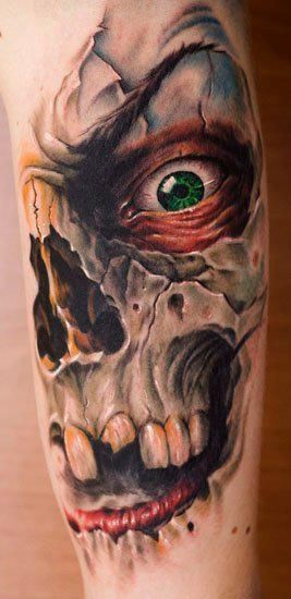 Scary Death Tattoo On Sleeve