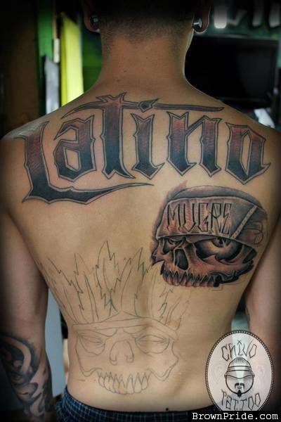 Stylish Skull Latino Tattoo On Back