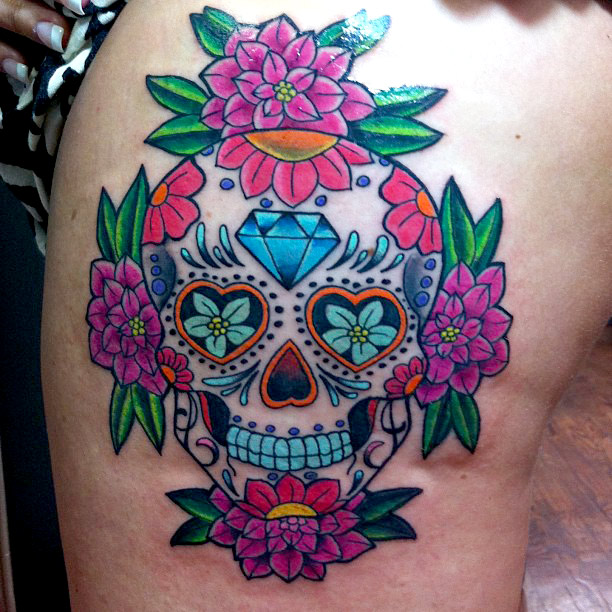 Sugar Skull Dia Delos Muertos Tattoo On Leg For Women
