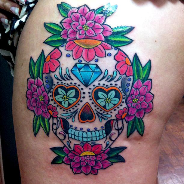Sugar Skull Dia Delos Muertos Tattoo On Leg For Women
