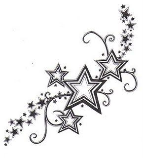 Stars And Swirls Tattoos On Hip