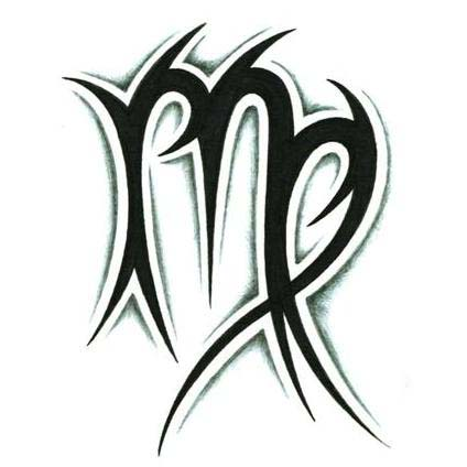 Tribal Virgo Sign Tattoo Zodiac Design