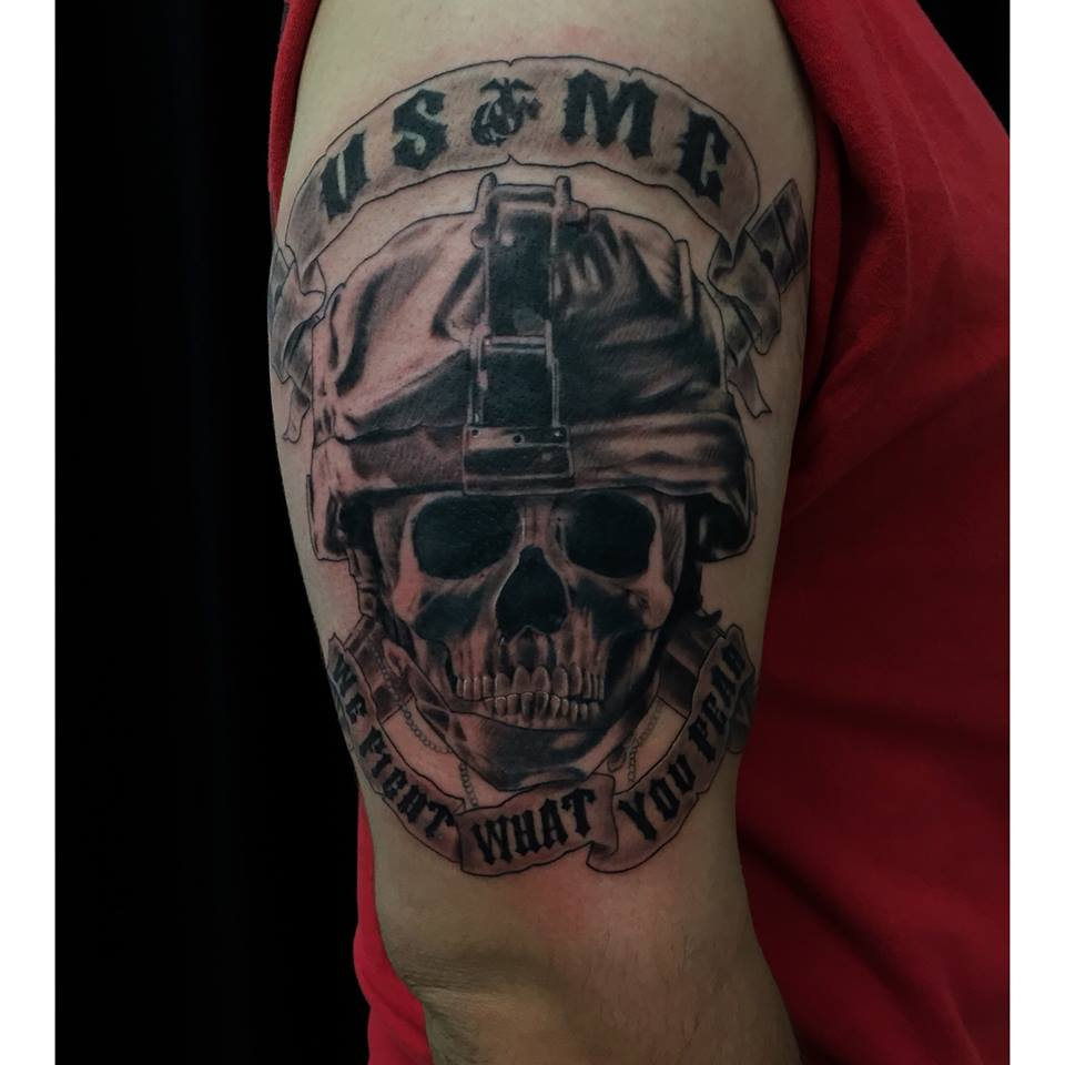 USMC Military Tattoo On Half Sleeve By Carlos Macedo