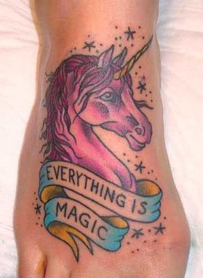 Unicorn Tattoo Design Idea On Foot