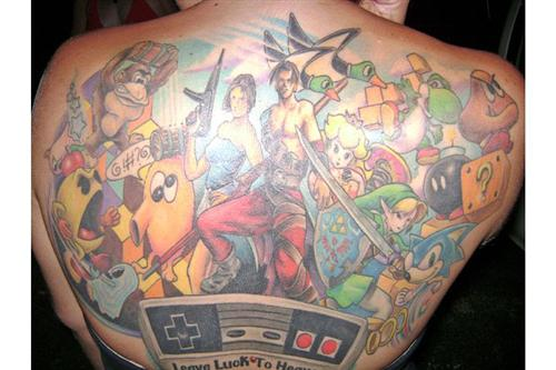 Video Games Tattoo On Back