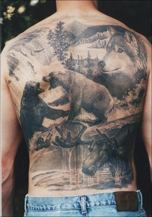 Wildlife Tattoo On Man Full Back