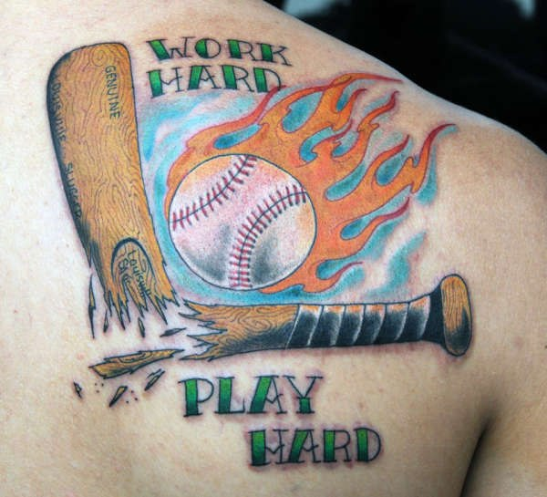 Work Hard Play Hard Sports Tattoo On Back Shoulder