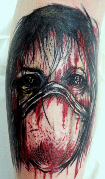 Zombie Girl Face Tattoo Design