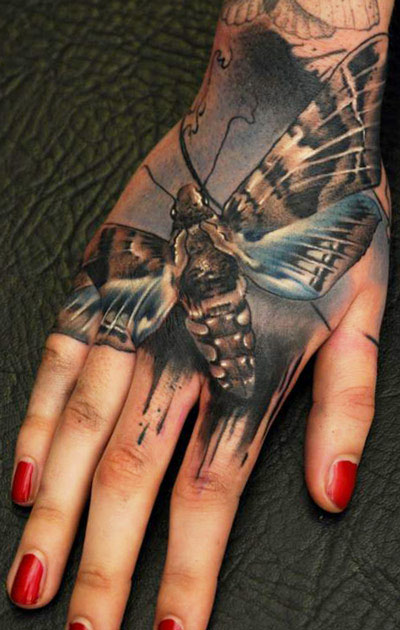 3D Insect Tattoo On Right Hand