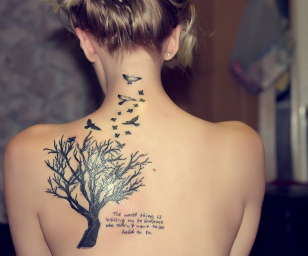 Birds Flying From Tree Girl Tattoo On Back
