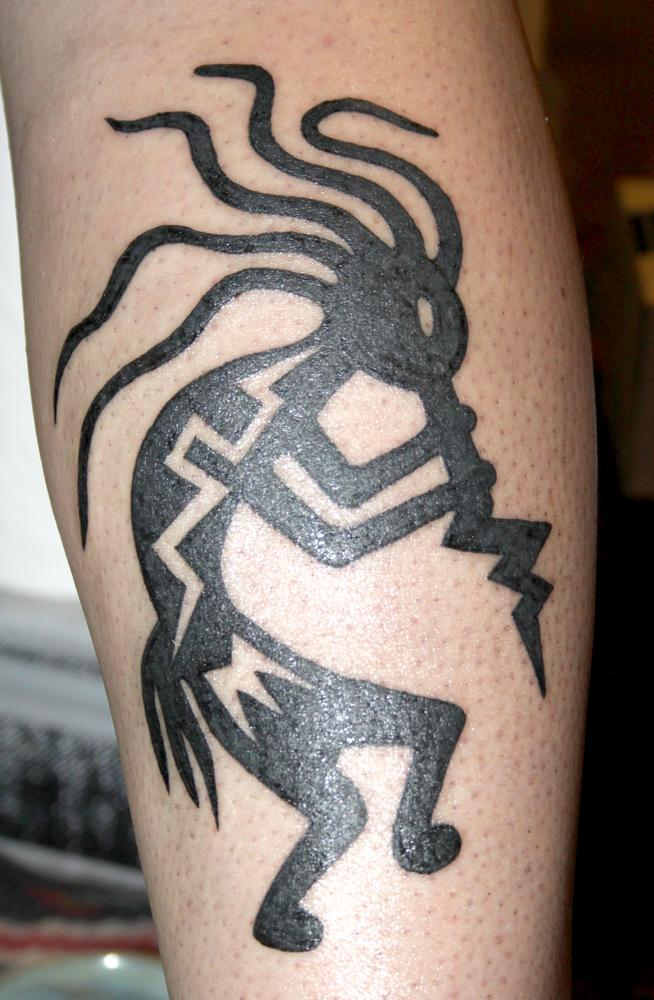 Black Tribal Kokopelli Tattoo Design