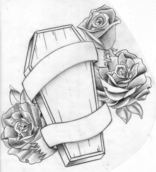 Coffin Tattoo Design Idea With Roses And Banner