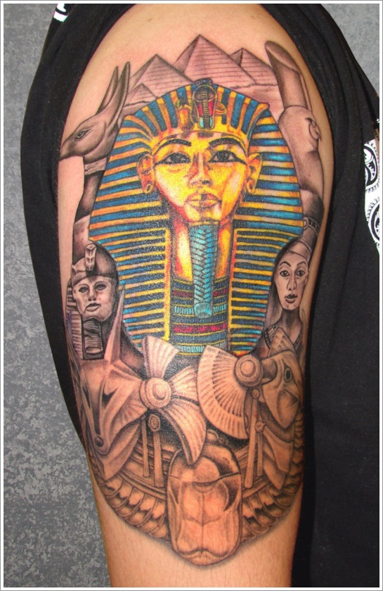 Color Egyptian Tattoo On Half Sleeve