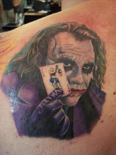 Color Joker Tattoo On Back Body