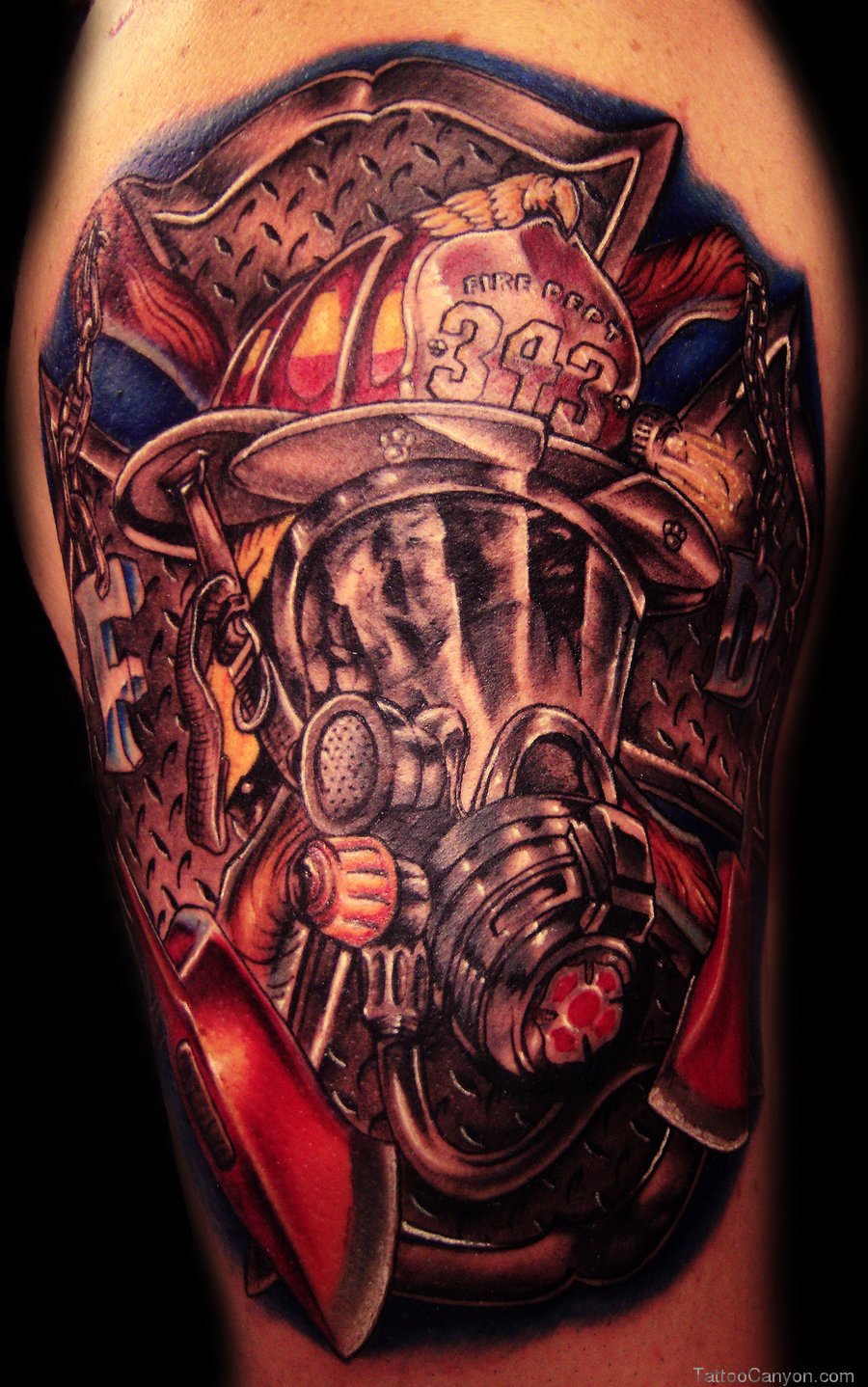 Colorful Firefighter Tattoo Design Image