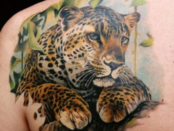 Colorful Leopard Tattoo Design On Left Back Shoulder