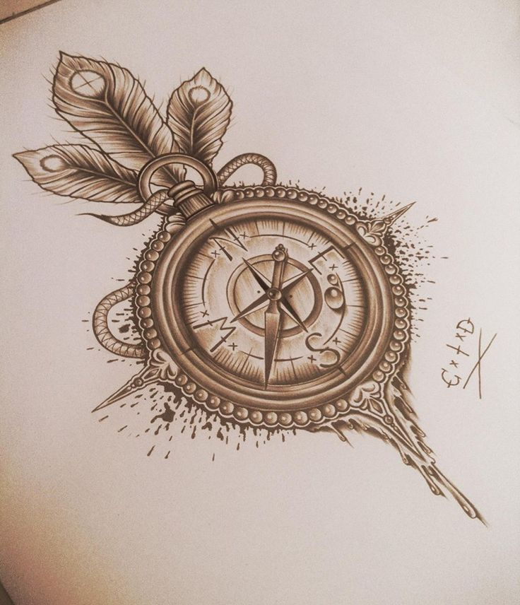 Cute Compass Tattoo Design Idea