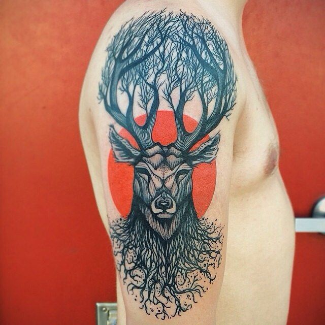 Cute Deer Tattoo Design by Dino Nemec