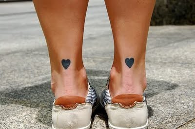 Cute Hearts Heel Tattoo For Girls