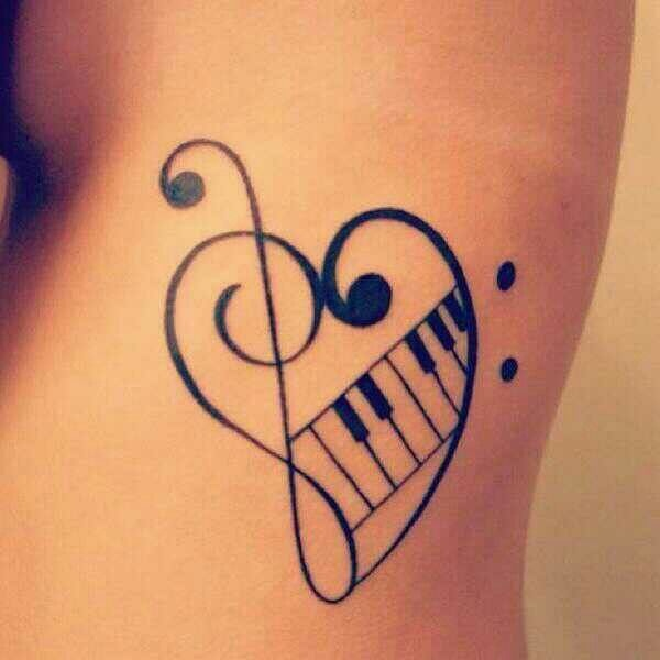 Cute Music Tattoo On Rib Cage