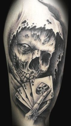 Demon Skull With Cards Tattoo Design