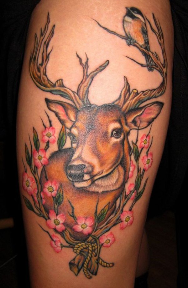Flowers And Deer Tattoo On Left Leg