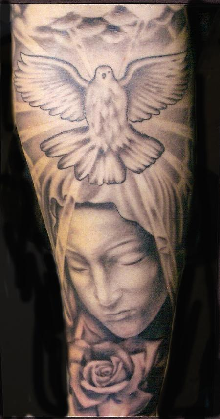 Flying Dove And Virgin Mary Religious Tattoo On Sleeve