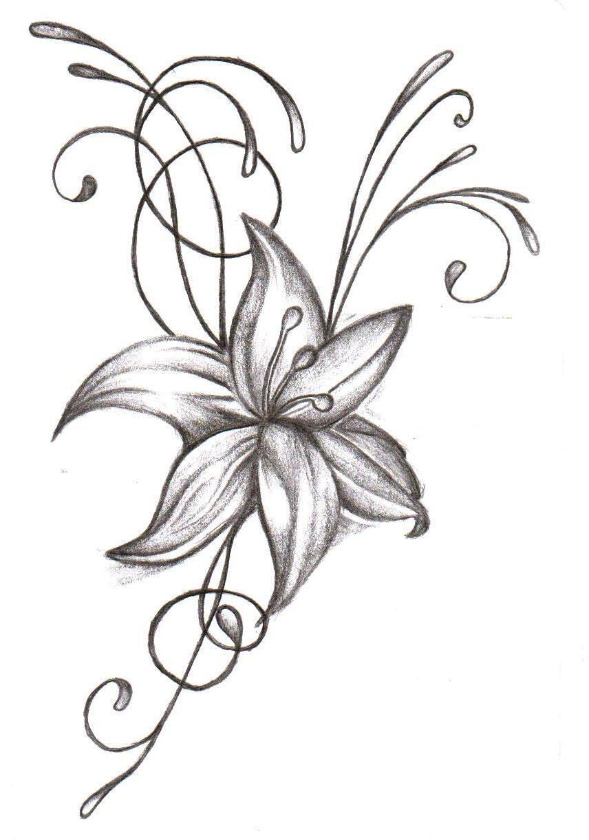 new grey ink flower tattoo design