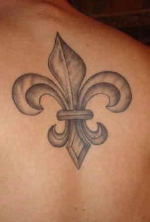 Grey Ink Fleur De Lis Tattoo On Back For Men