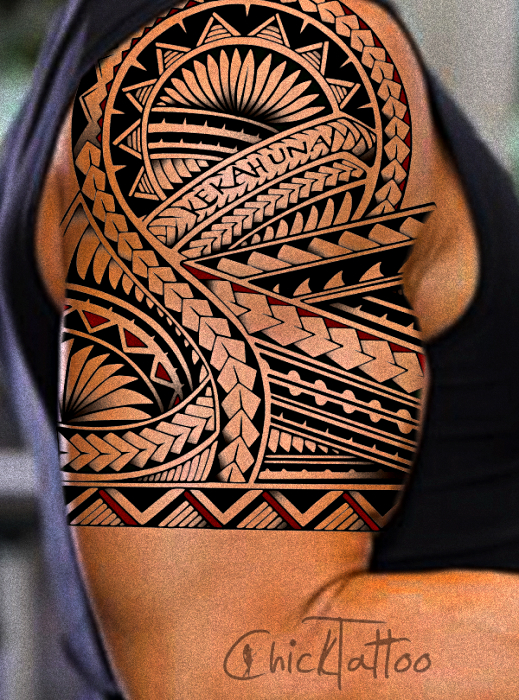 Hawaiian Tattoo On Half Sleeve By Chick Tattoo