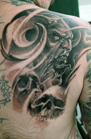 Horned Demon Tattoo On Right Back Shoulder