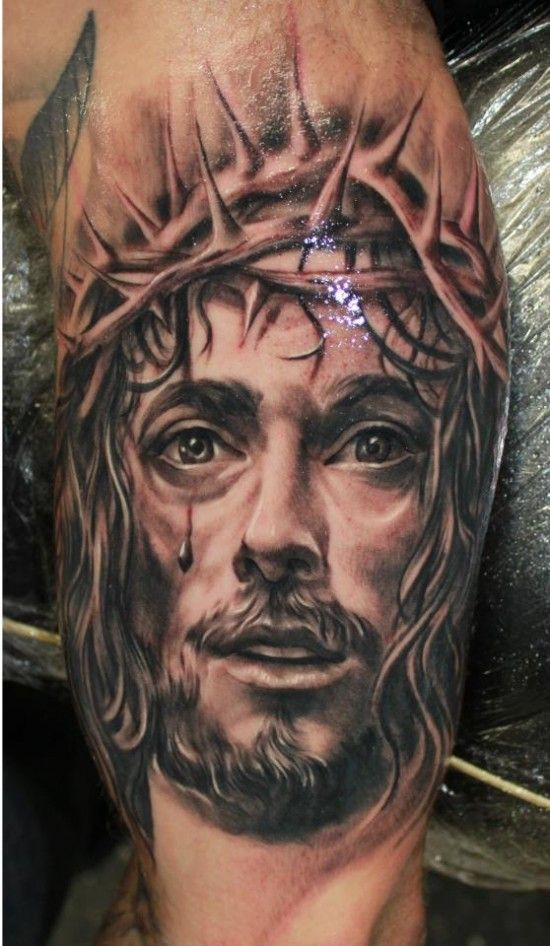 Jesus Christ With Thorn Crown Religious Tattoo