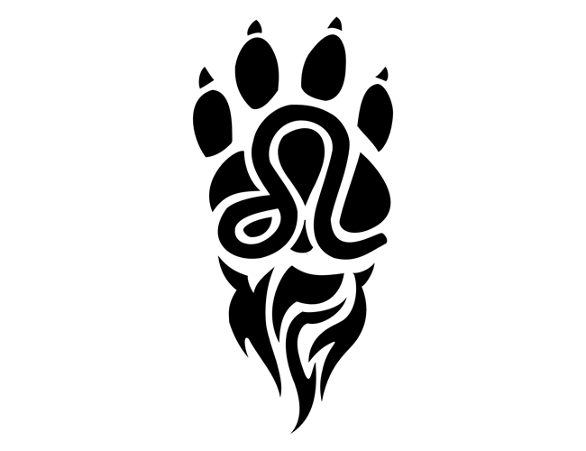 Leo Sign and Paw Print Tattoo Design