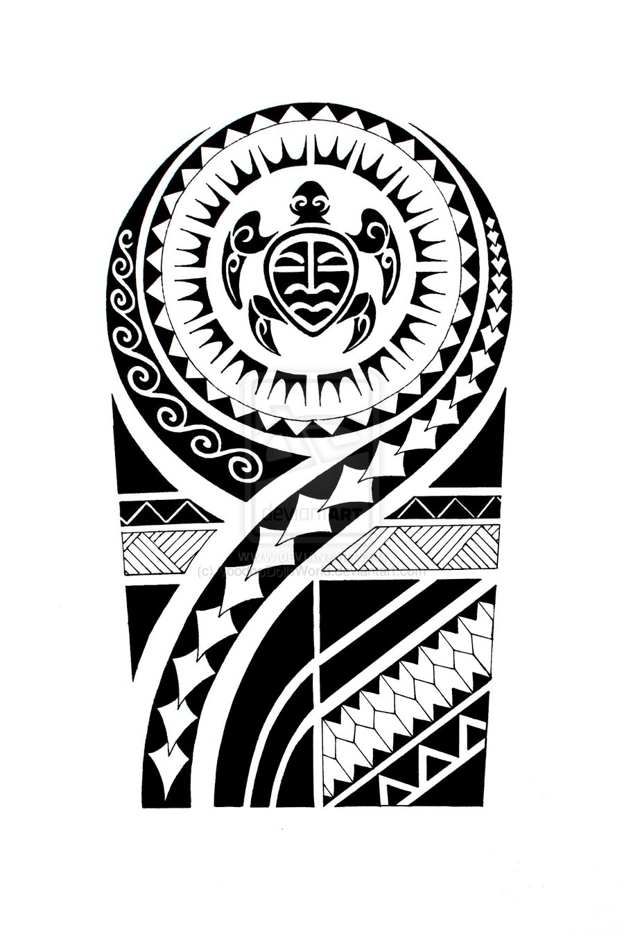 Maori Tattoo Design For Half Sleeve
