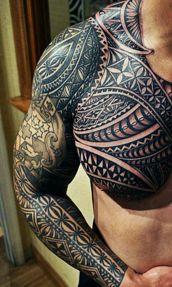 Maori Tribal Tattoo Designs Chest: Maori Tattoo On Man Chest And Right Sleeve