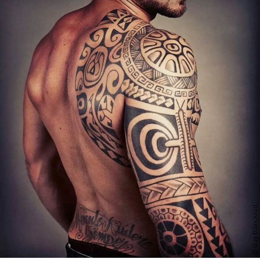 Maori Tattoo On Shoulder And Sleeve