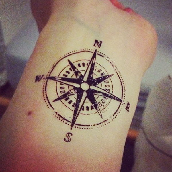 Nice Compass Tattoo On Wrist