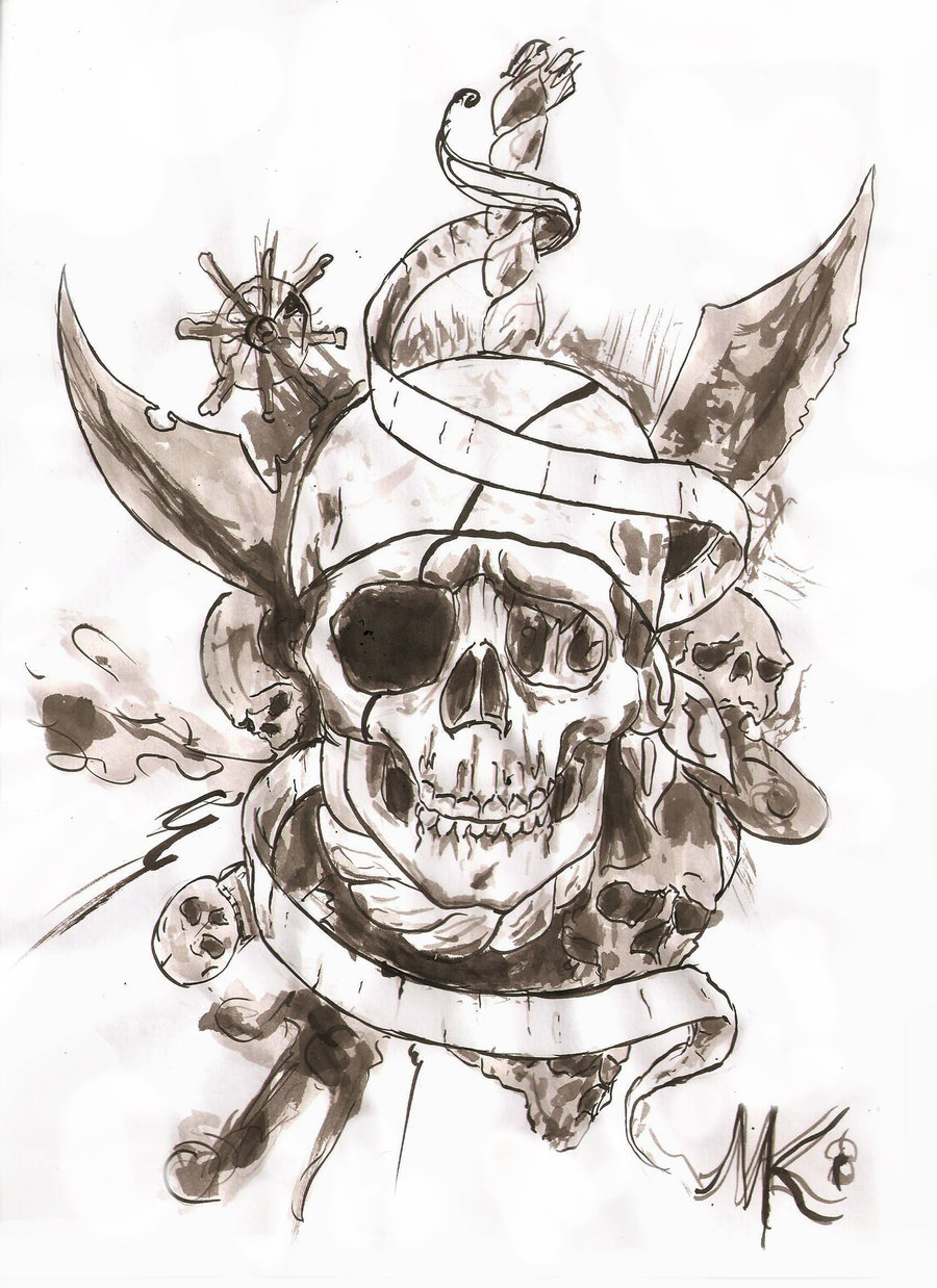 Pirate Skull Tattoo Design Idea With Banner