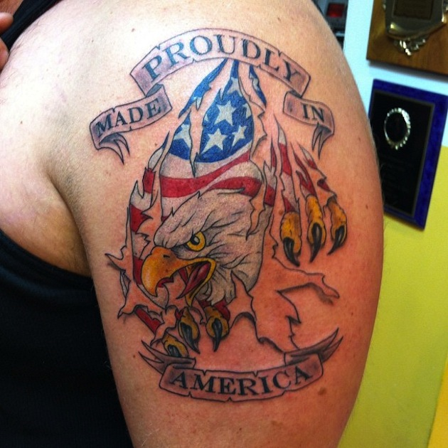 Proudly Made In America Country Tattoo On Left Shoulder