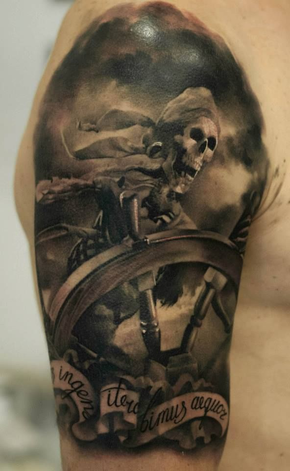 Realistic Grey Ink Pirate Tattoo On Half Sleeve