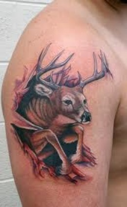 Ripped Skin Deer Tattoo On Half Sleeve